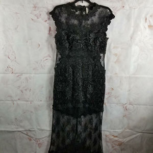 Topshop Formal Full Length Dress Gown Black Lace